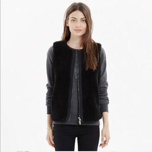 Madewell faux fur black vest zipper nwot  7B21